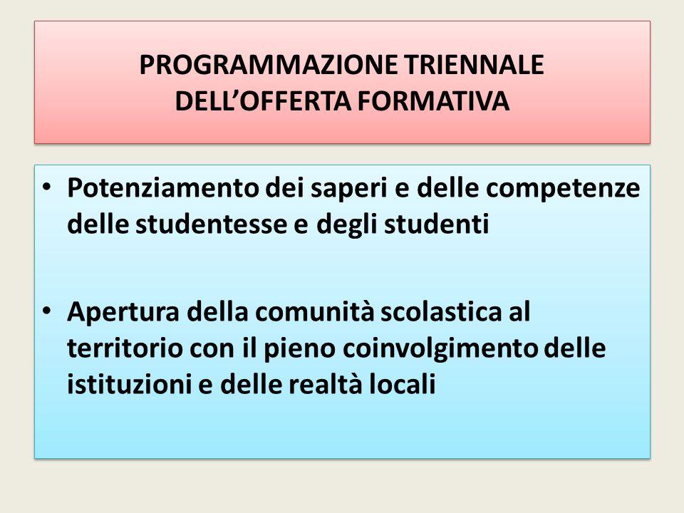 PROGRAMMAZIONE TRIENNALE DELL'OFFERTA FORMATIVA Potenziamento dei saperi e delle competenze delle studentesse e degli studenti Apertura della comunità
