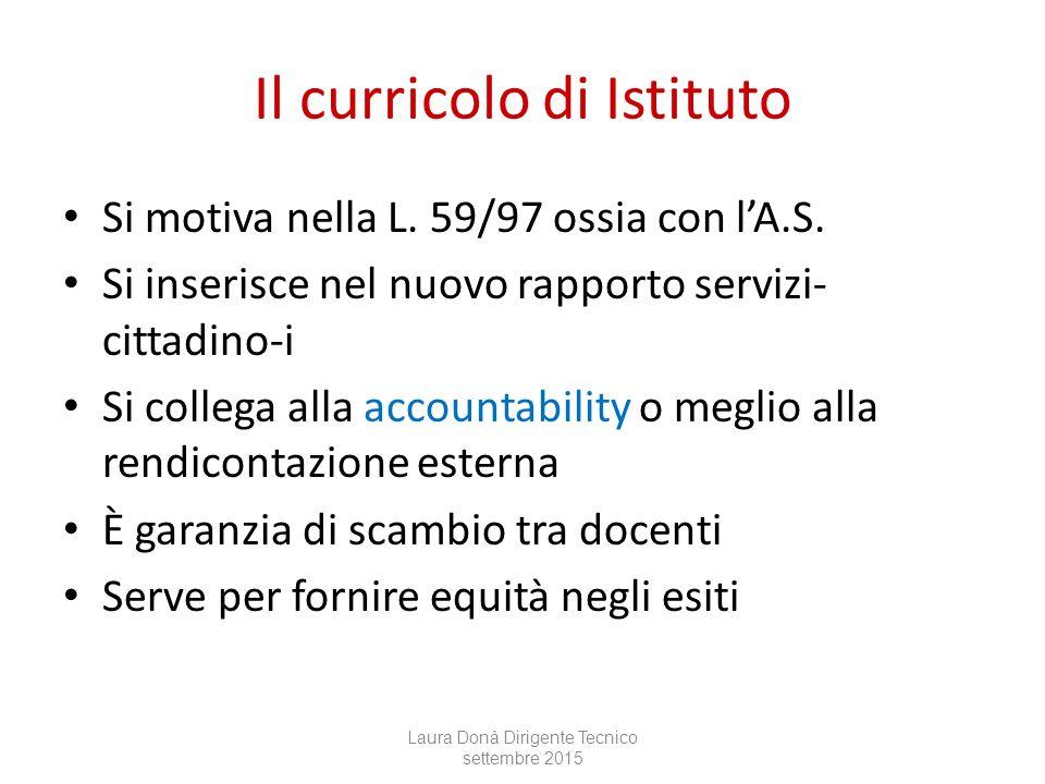 Il curricolo di Istituto Si motiva nella L.59/97 ossia con l'A.S.