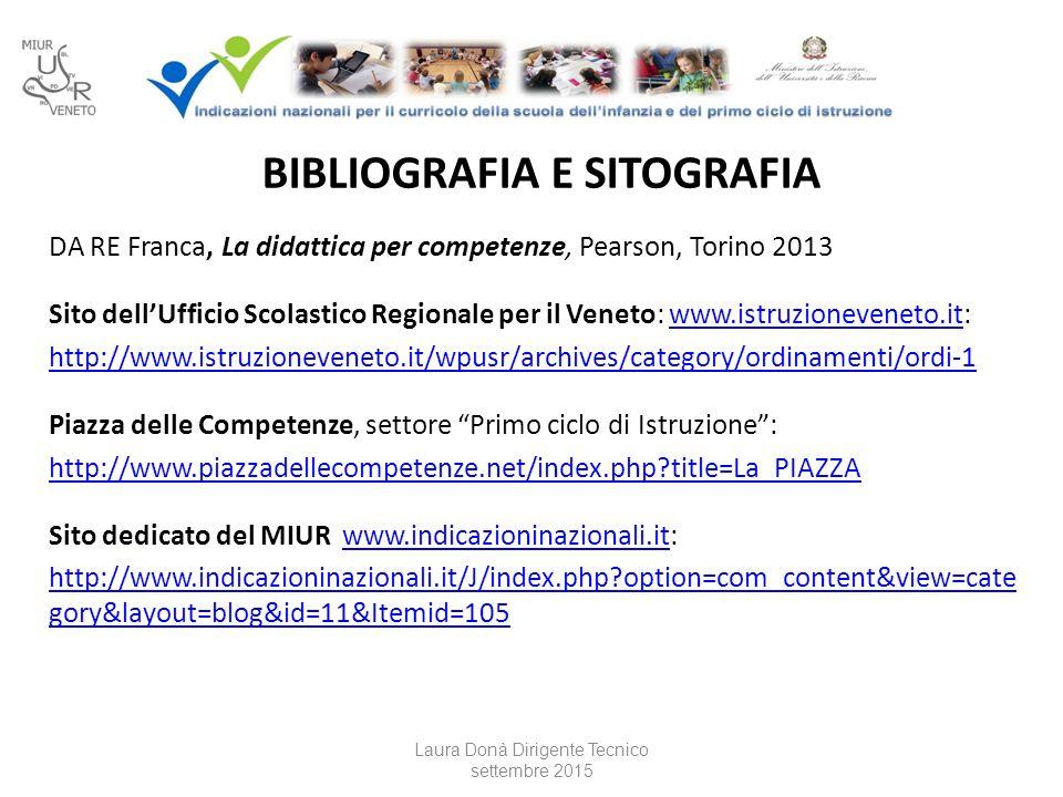BIBLIOGRAFIA E SITOGRAFIA DA RE Franca, La didattica per competenze, Pearson, Torino 2013 Sito dell'Ufficio Scolastico Regionale per il Veneto: www.istruzioneveneto.it:www.istruzioneveneto.it http://www.istruzioneveneto.it/wpusr/archives/category/ordinamenti/ordi-1 Piazza delle Competenze, settore Primo ciclo di Istruzione : http://www.piazzadellecompetenze.net/index.php?title=La_PIAZZA Sito dedicato del MIUR www.indicazioninazionali.it:www.indicazioninazionali.it http://www.indicazioninazionali.it/J/index.php?option=com_content&view=cate gory&layout=blog&id=11&Itemid=105 Laura Donà Dirigente Tecnico settembre 2015