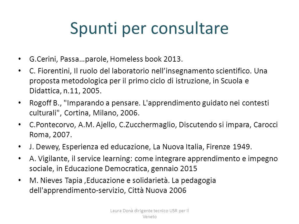 Spunti per consultare G.Cerini, Passa…parole, Homeless book 2013.