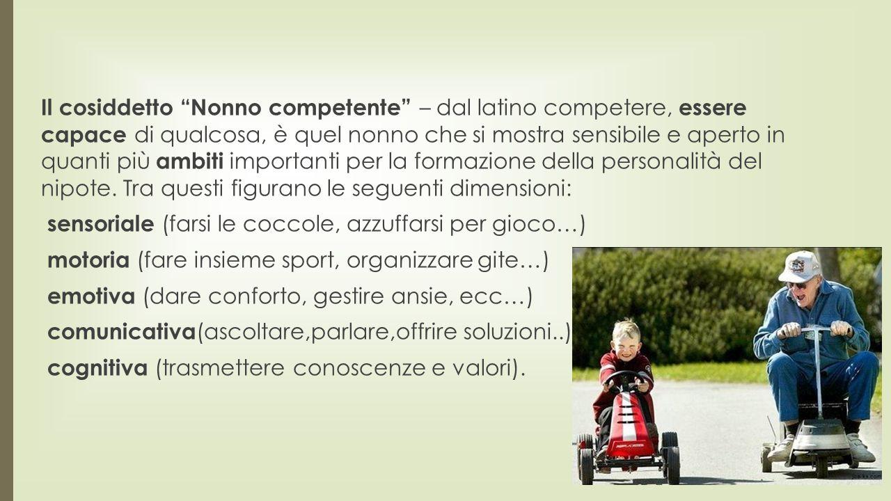 Il cosiddetto Nonno competente – dal latino competere, essere capace di qualcosa, è quel nonno che si mostra sensibile e aperto in quanti più ambiti importanti per la formazione della personalità del nipote.