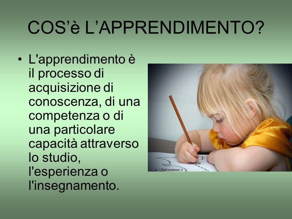COS'è L'APPRENDIMENTO? L'apprendimento è il processo di acquisizione di conoscenza, di una competenza o di una particolare capacità attraverso lo stud
