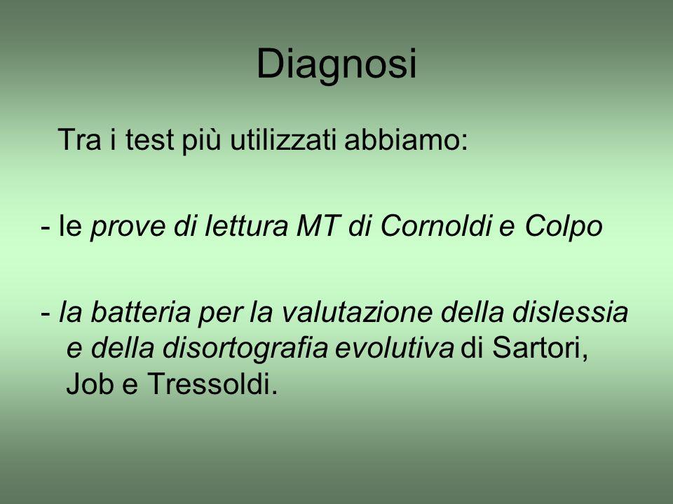 Diagnosi Tra i test più utilizzati abbiamo: - le prove di lettura MT di Cornoldi e Colpo - la batteria per la valutazione della dislessia e della diso