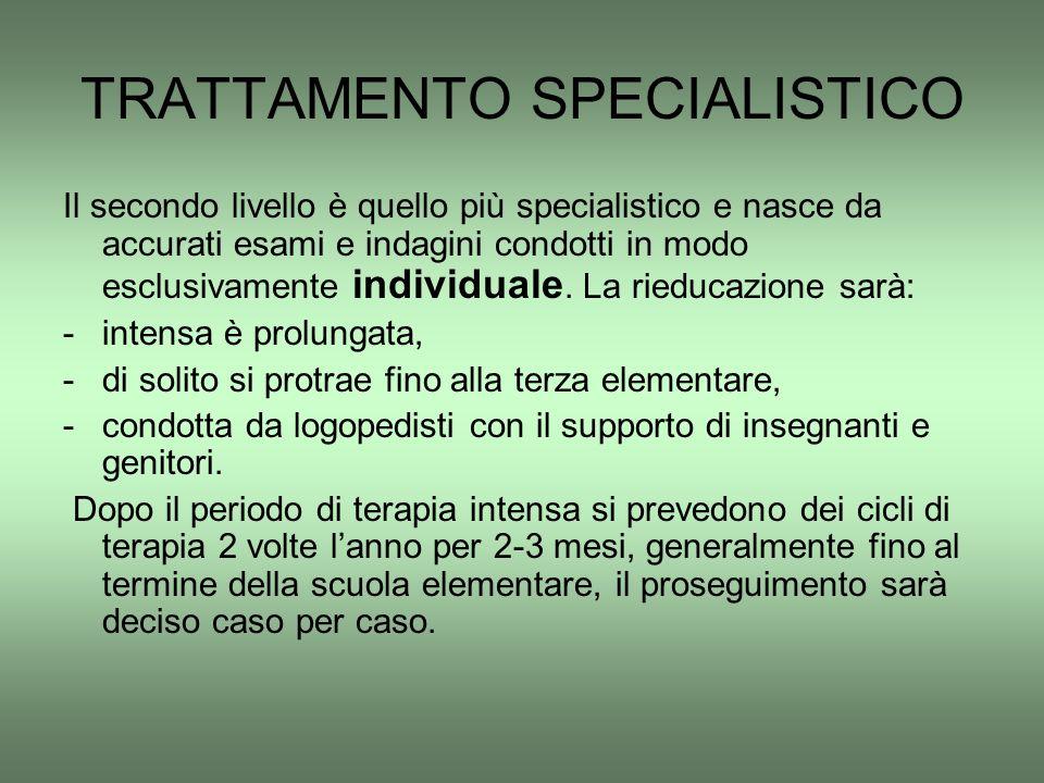 TRATTAMENTO SPECIALISTICO Il secondo livello è quello più specialistico e nasce da accurati esami e indagini condotti in modo esclusivamente individua