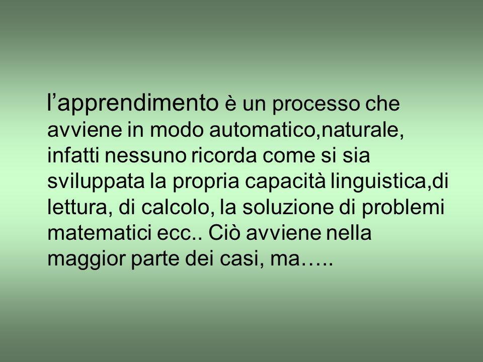 l'apprendimento è un processo che avviene in modo automatico,naturale, infatti nessuno ricorda come si sia sviluppata la propria capacità linguistica,