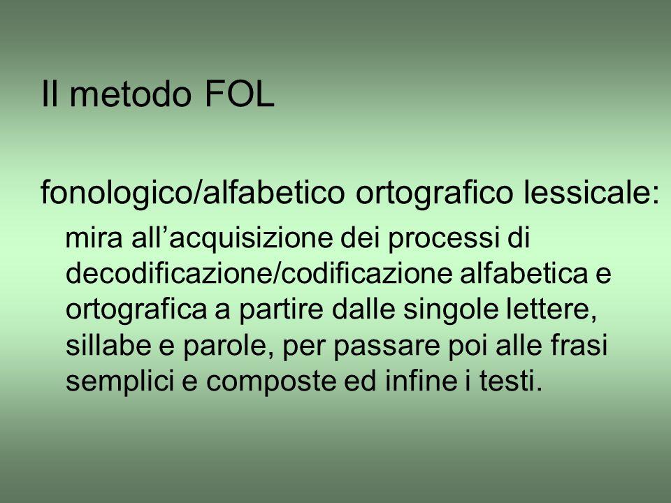Il metodo FOL fonologico/alfabetico ortografico lessicale: mira all'acquisizione dei processi di decodificazione/codificazione alfabetica e ortografic