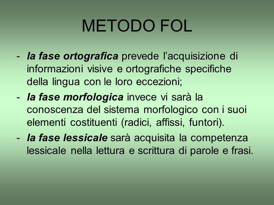 METODO FOL -la fase ortografica prevede l'acquisizione di informazioni visive e ortografiche specifiche della lingua con le loro eccezioni; -la fase m