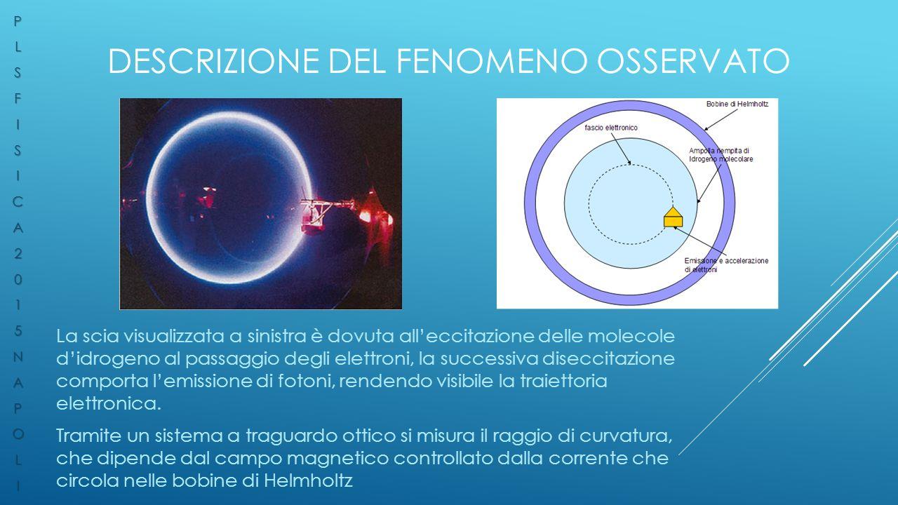 DESCRIZIONE DEL FENOMENO OSSERVATO La scia visualizzata a sinistra è dovuta all'eccitazione delle molecole d'idrogeno al passaggio degli elettroni, la successiva diseccitazione comporta l'emissione di fotoni, rendendo visibile la traiettoria elettronica.