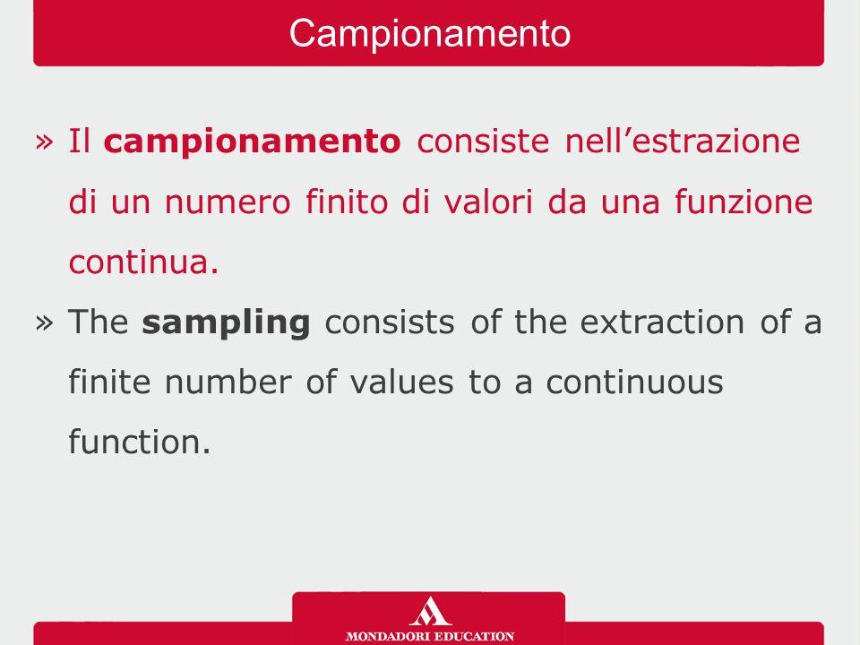 »Il campionamento consiste nell'estrazione di un numero finito di valori da una funzione continua.