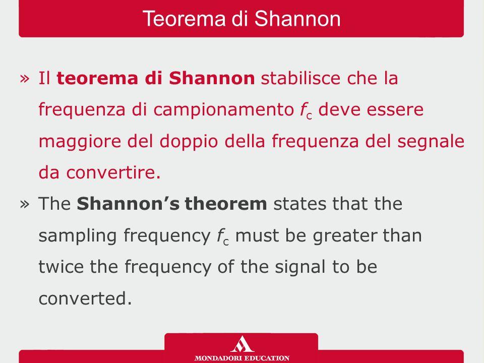 »Il teorema di Shannon stabilisce che la frequenza di campionamento f c deve essere maggiore del doppio della frequenza del segnale da convertire.