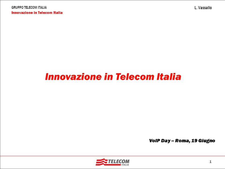 1 GRUPPO TELECOM ITALIA Innovazione in Telecom Italia L. Vassallo Innovazione in Telecom Italia VoIP Day – Roma, 19 Giugno