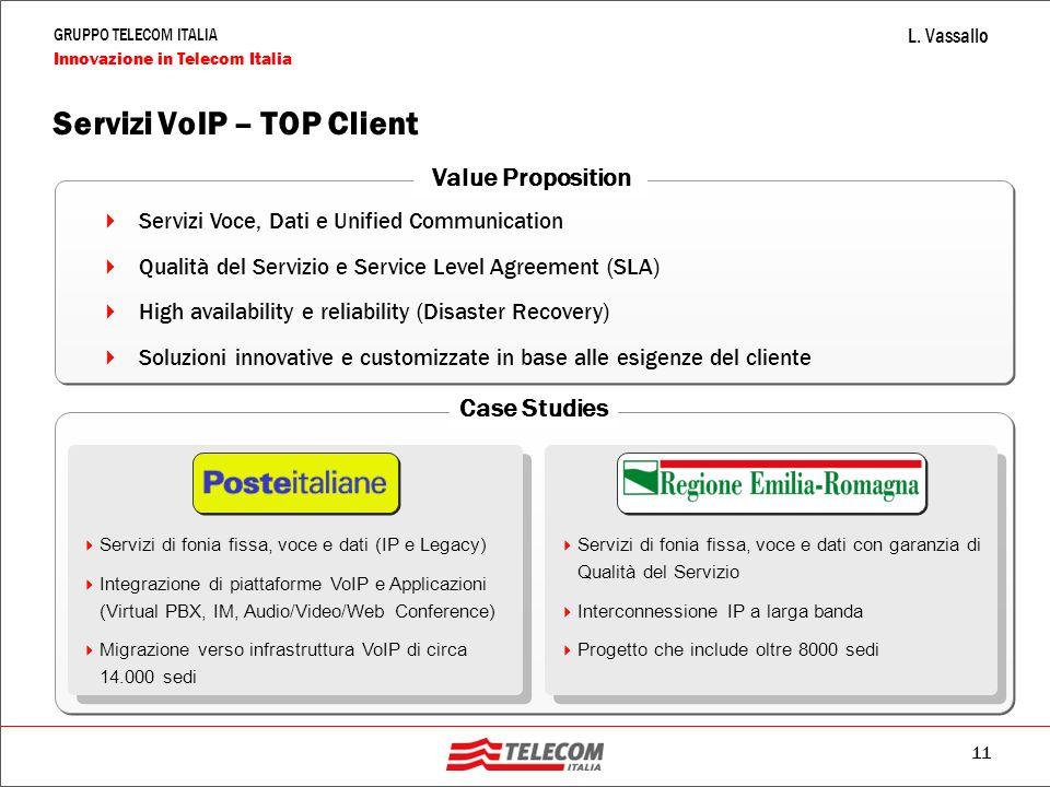 11 GRUPPO TELECOM ITALIA Innovazione in Telecom Italia L. Vassallo Servizi VoIP – TOP Client  Servizi Voce, Dati e Unified Communication  Qualità de