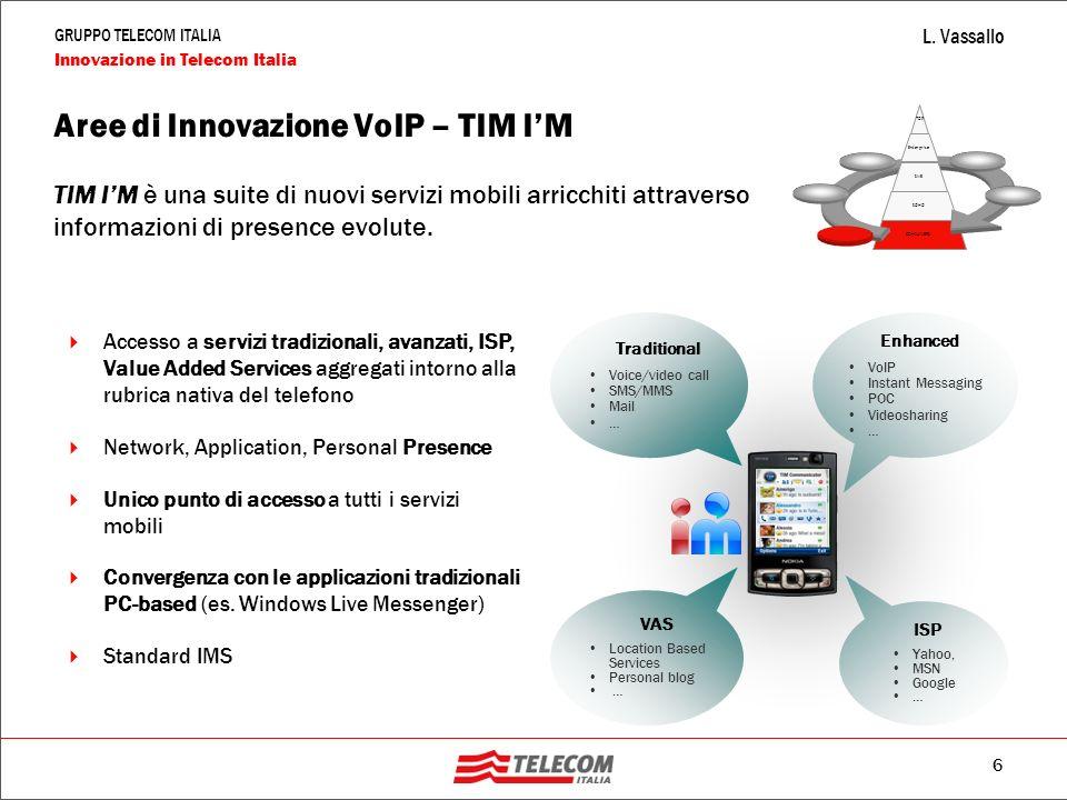 6 GRUPPO TELECOM ITALIA Innovazione in Telecom Italia L. Vassallo Aree di Innovazione VoIP – TIM I'M TIM I'M è una suite di nuovi servizi mobili arric