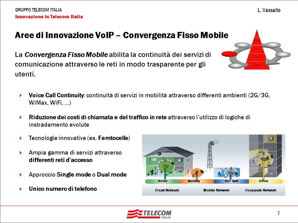 7 GRUPPO TELECOM ITALIA Innovazione in Telecom Italia L. Vassallo La Convergenza Fisso Mobile abilita la continuità dei servizi di comunicazione attra