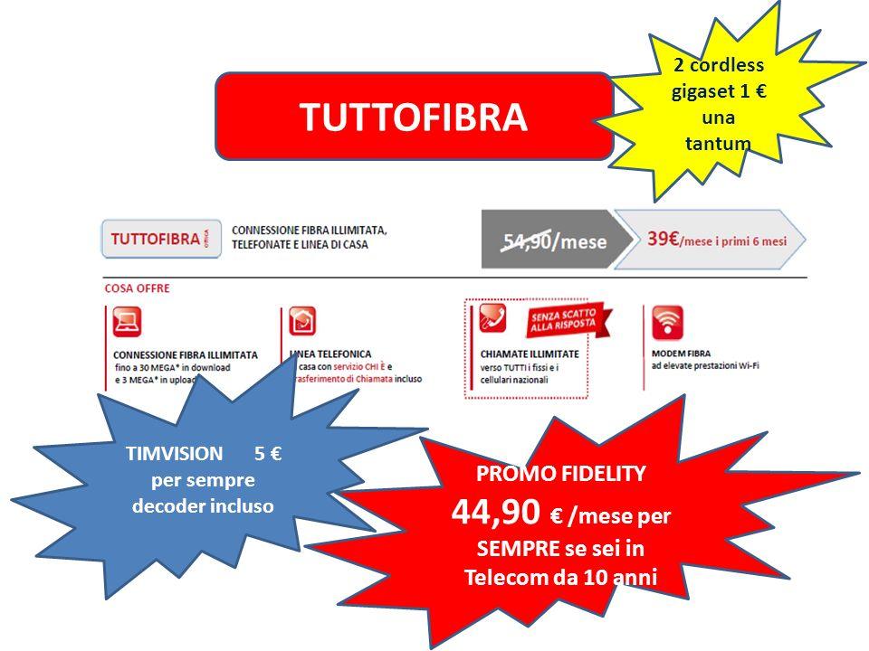 TUTTOFIBRA PROMO FIDELITY 44,90 € /mese per SEMPRE se sei in Telecom da 10 anni 2 cordless gigaset 1 € una tantum TIMVISION 5 € per sempre decoder inc