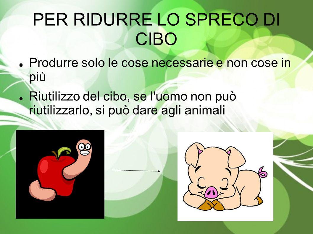 PER RIDURRE LO SPRECO DI CIBO Produrre solo le cose necessarie e non cose in più Riutilizzo del cibo, se l uomo non può riutilizzarlo, si può dare agli animali