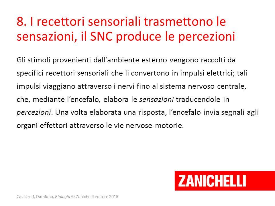 8. I recettori sensoriali trasmettono le sensazioni, il SNC produce le percezioni Gli stimoli provenienti dall'ambiente esterno vengono raccolti da sp