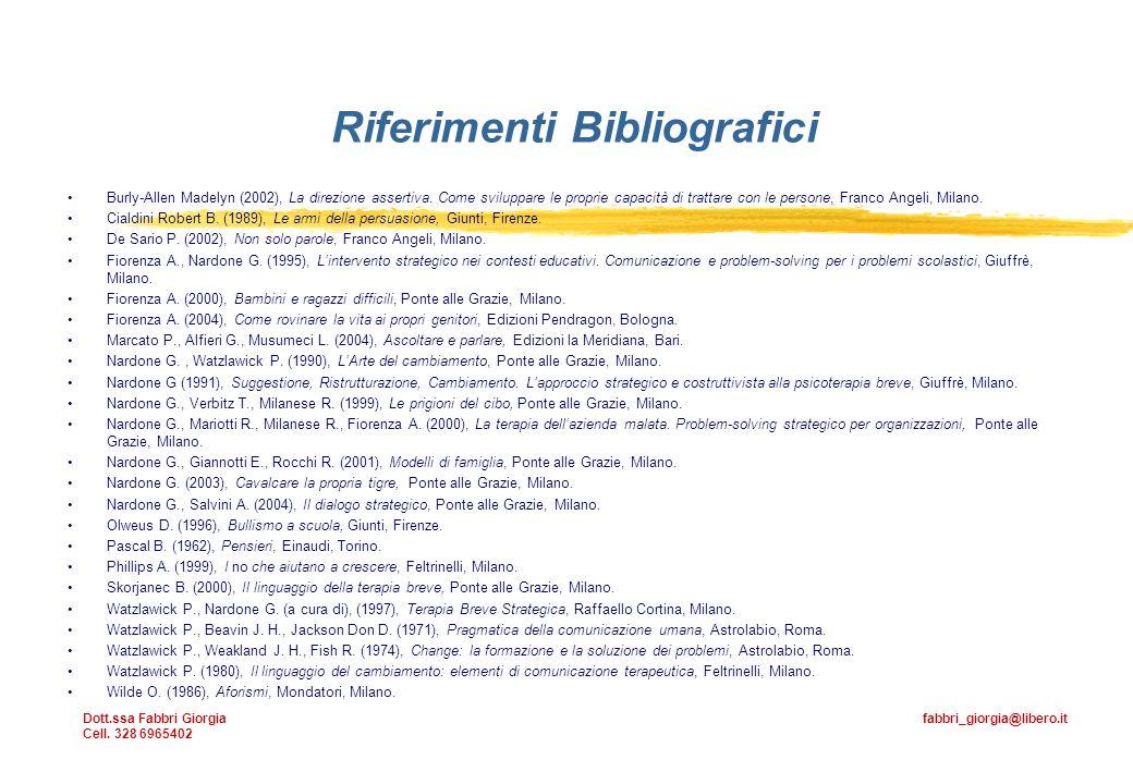 Riferimenti Bibliografici Burly-Allen Madelyn (2002), La direzione assertiva.