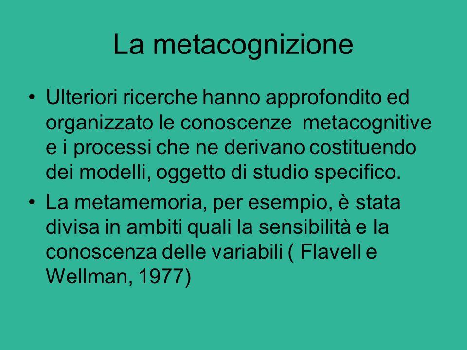 La metacognizione Ulteriori ricerche hanno approfondito ed organizzato le conoscenze metacognitive e i processi che ne derivano costituendo dei modell