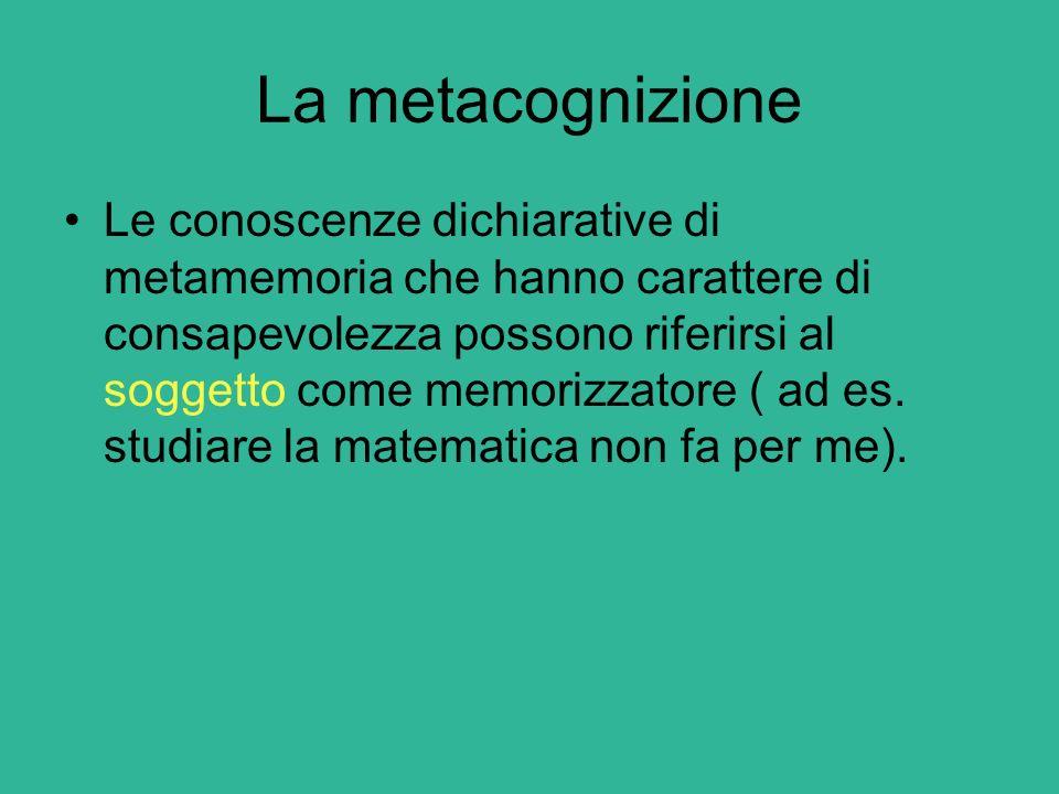 La metacognizione Le conoscenze dichiarative di metamemoria che hanno carattere di consapevolezza possono riferirsi al soggetto come memorizzatore ( a