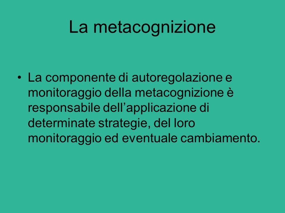 La metacognizione La componente di autoregolazione e monitoraggio della metacognizione è responsabile dell'applicazione di determinate strategie, del
