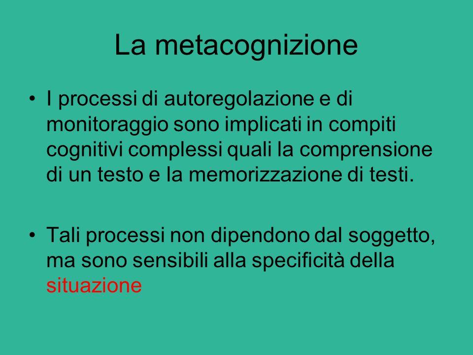 La metacognizione I processi di autoregolazione e di monitoraggio sono implicati in compiti cognitivi complessi quali la comprensione di un testo e la