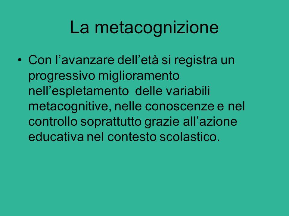 La metacognizione Con l'avanzare dell'età si registra un progressivo miglioramento nell'espletamento delle variabili metacognitive, nelle conoscenze e