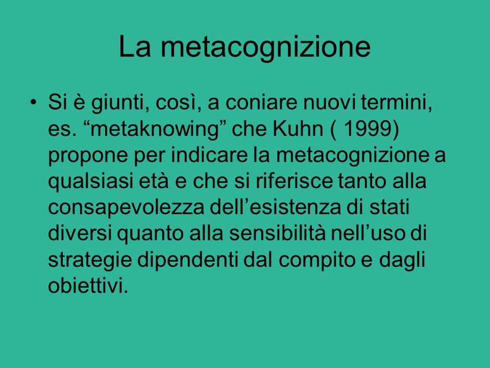 """La metacognizione Si è giunti, così, a coniare nuovi termini, es. """"metaknowing"""" che Kuhn ( 1999) propone per indicare la metacognizione a qualsiasi et"""