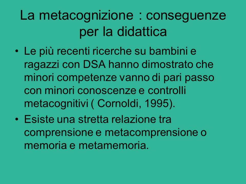 La metacognizione : conseguenze per la didattica Le più recenti ricerche su bambini e ragazzi con DSA hanno dimostrato che minori competenze vanno di