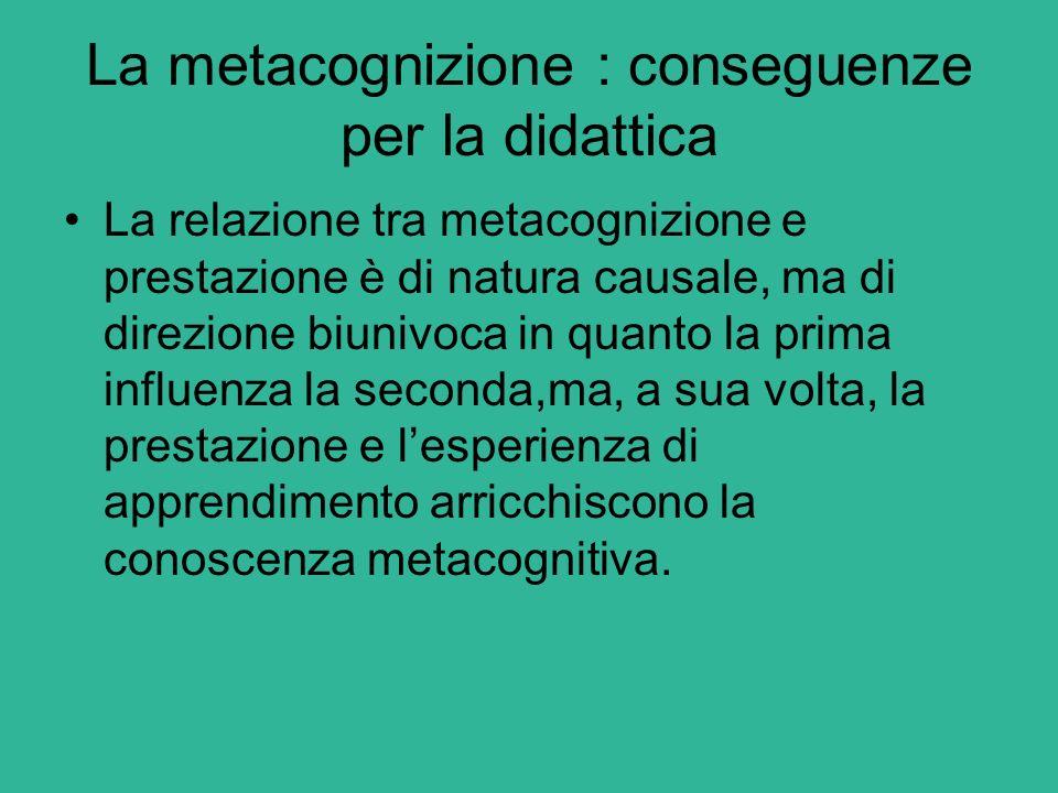 La metacognizione : conseguenze per la didattica La relazione tra metacognizione e prestazione è di natura causale, ma di direzione biunivoca in quant