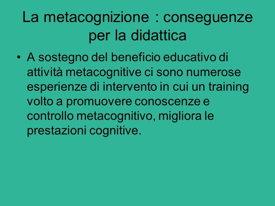La metacognizione : conseguenze per la didattica A sostegno del beneficio educativo di attività metacognitive ci sono numerose esperienze di intervent