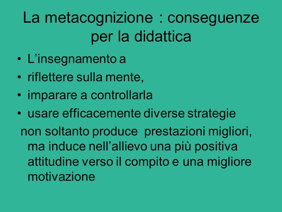 La metacognizione : conseguenze per la didattica L'insegnamento a riflettere sulla mente, imparare a controllarla usare efficacemente diverse strategi