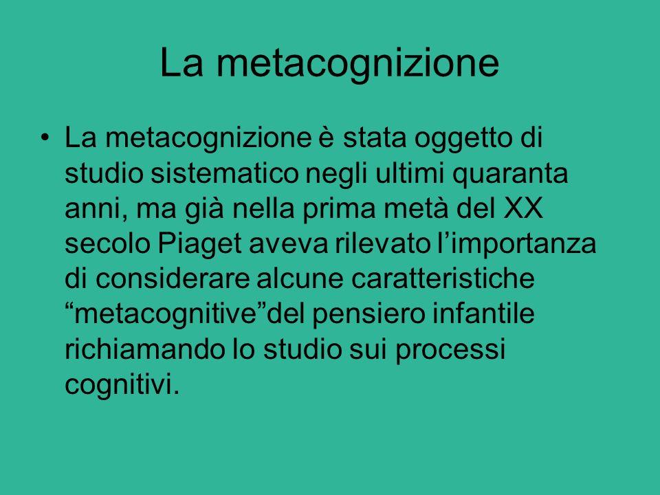 La metacognizione La metacognizione è stata oggetto di studio sistematico negli ultimi quaranta anni, ma già nella prima metà del XX secolo Piaget ave