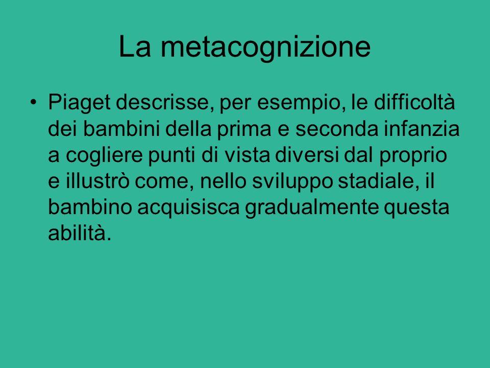 La metacognizione Il termine metacognizione fu introdotto per la prima volta, agli inizi degli anni Settanta, dopo gli studi di Flavell sulla conoscenza riguardo alla memoria e al processo di memorizzazione che lo studioso definiva metamemoria .