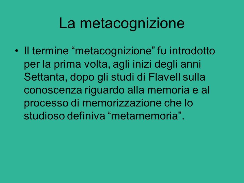 La metacognizione Questo filone di ricerca si è concentrato sullo studio dello sviluppo nel bambino della comprensione della vita mentale, del funzionamento della mente, quando pensa o ricorda e della relativa indipendenza tra i propri ed altrui pensieri.