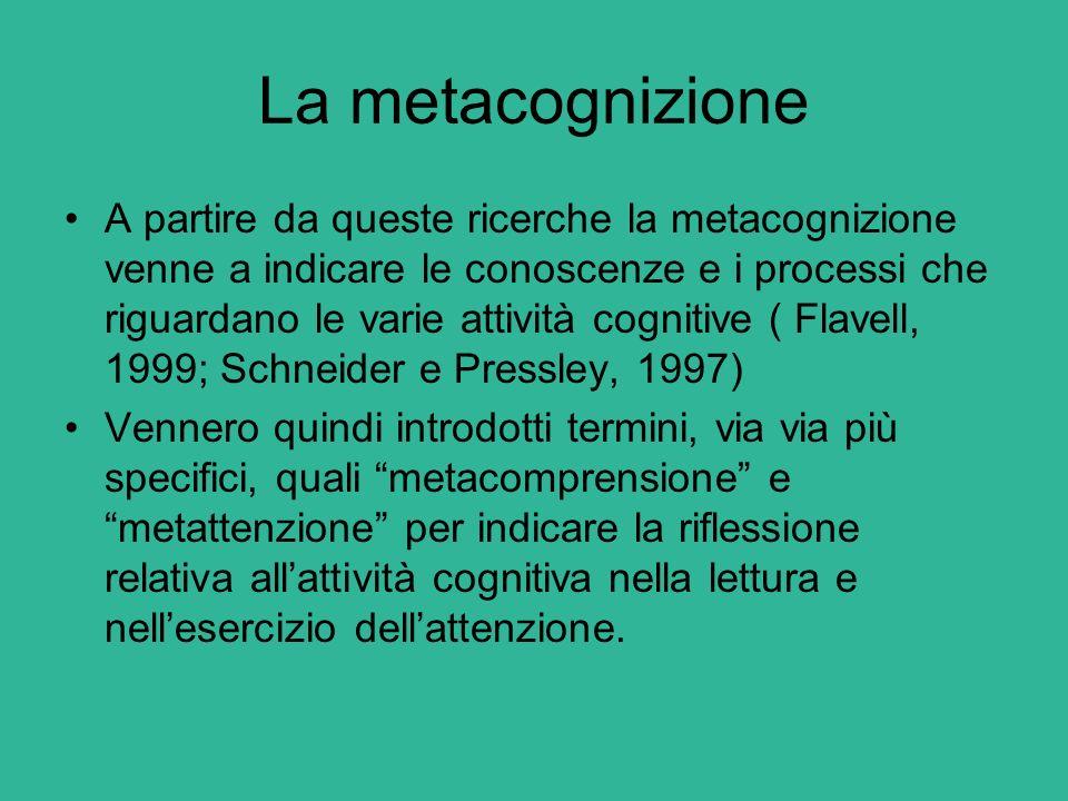 La metacognizione A partire da queste ricerche la metacognizione venne a indicare le conoscenze e i processi che riguardano le varie attività cognitiv