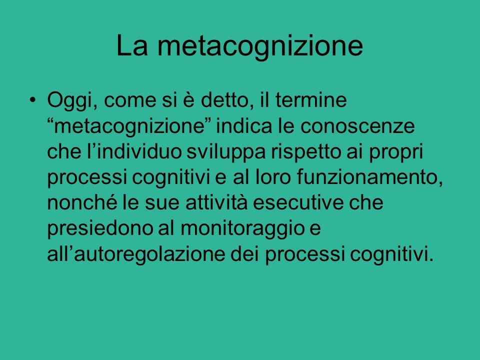 La metacognizione La metacognizione di ogni persona riguarda: le conoscenze sulle sue abilità cognitive; sulla natura dei processi cognitivi; sulle strategie per svilupparli al meglio; Sulle abilità per controllarli durante e dopo l'esecuzione.