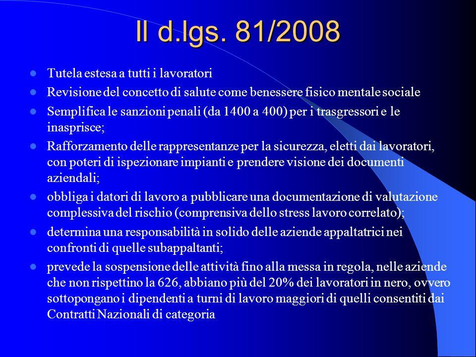 Il d.lgs. 81/2008 Tutela estesa a tutti i lavoratori Revisione del concetto di salute come benessere fisico mentale sociale Semplifica le sanzioni pen