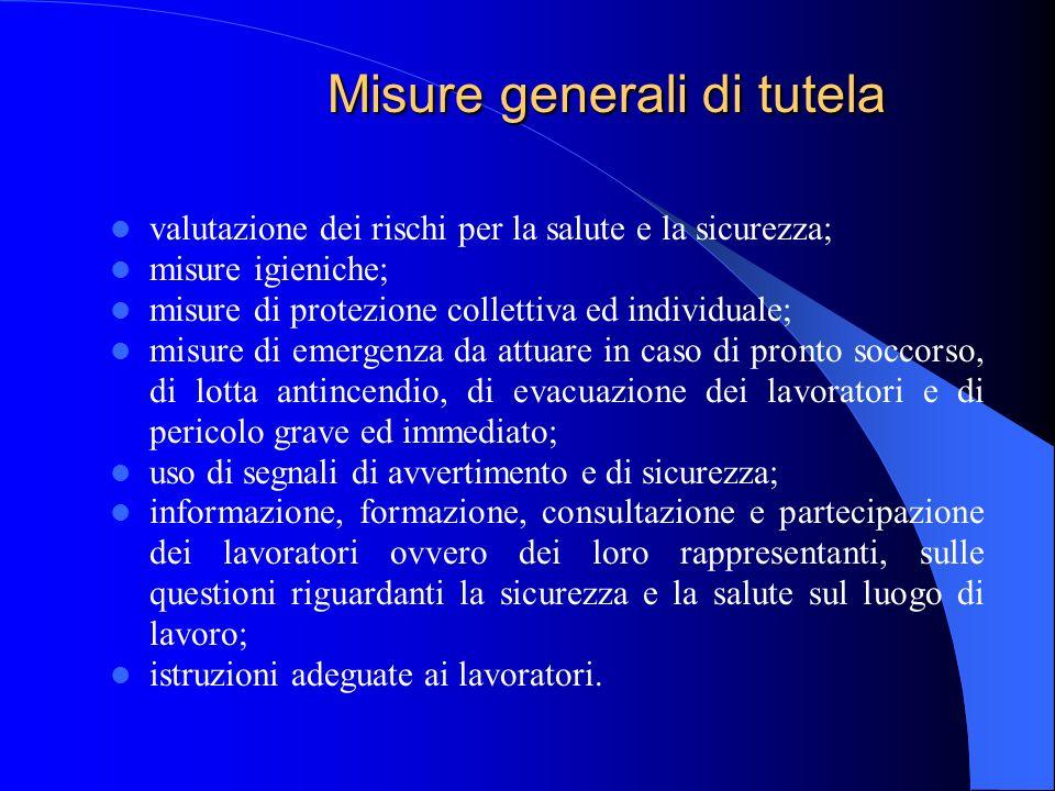 Misure generali di tutela valutazione dei rischi per la salute e la sicurezza; misure igieniche; misure di protezione collettiva ed individuale; misur