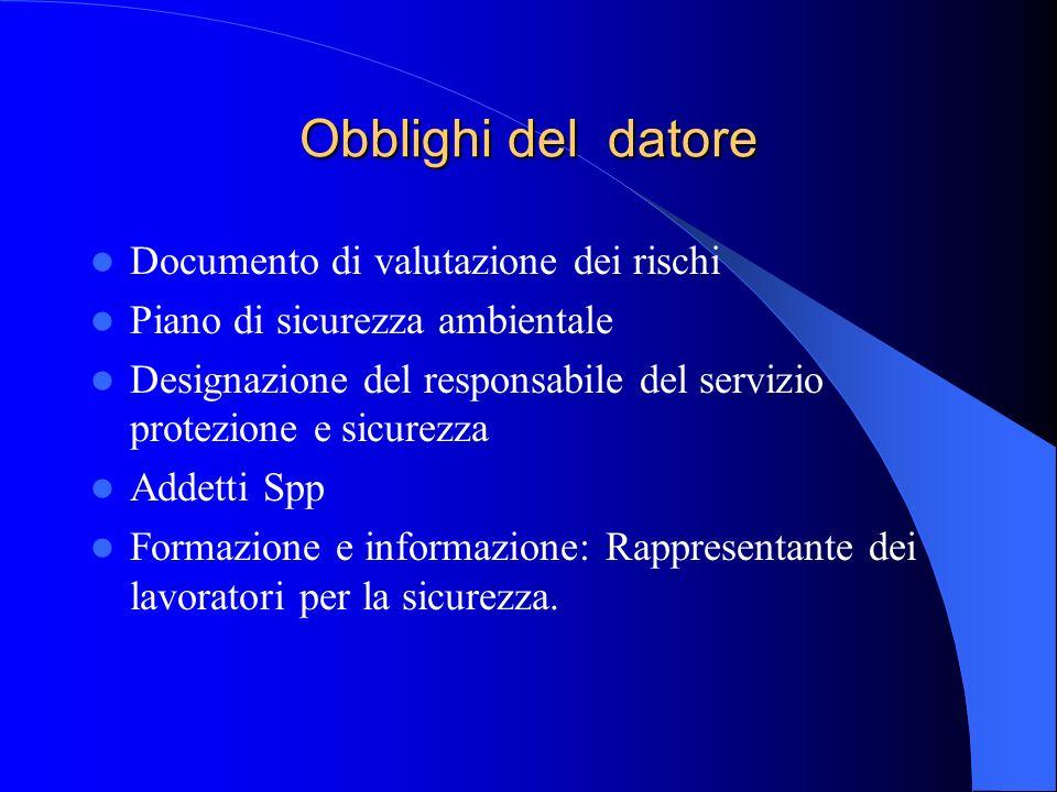 Obblighi del datore Documento di valutazione dei rischi Piano di sicurezza ambientale Designazione del responsabile del servizio protezione e sicurezz