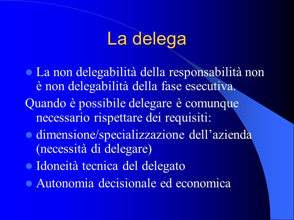 La delega La non delegabilità della responsabilità non è non delegabilità della fase esecutiva. Quando è possibile delegare è comunque necessario risp