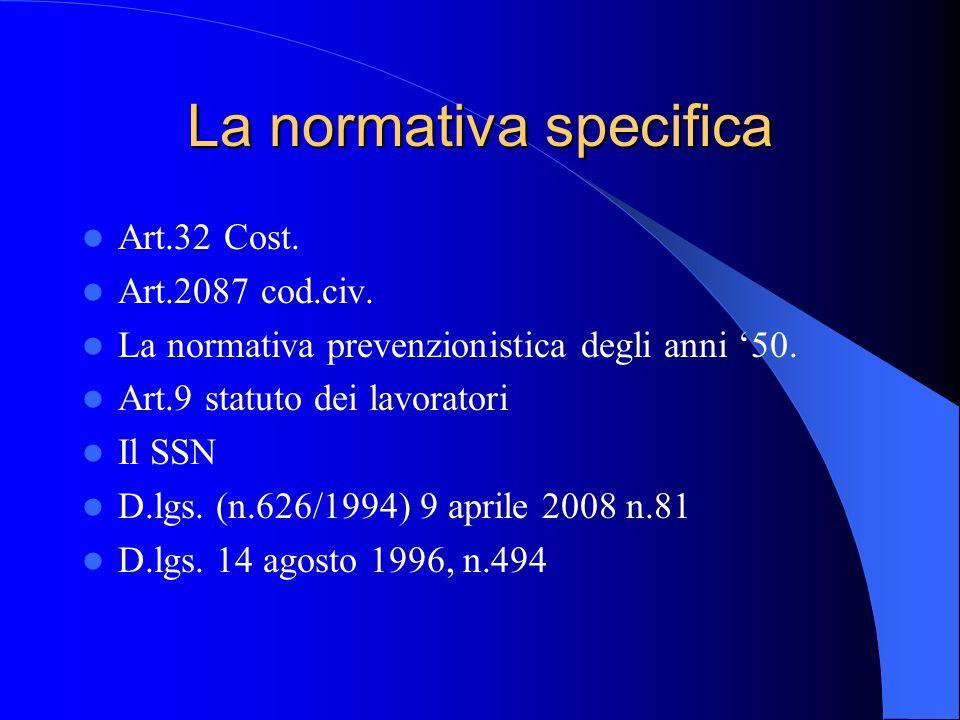 La normativa specifica Art.32 Cost. Art.2087 cod.civ. La normativa prevenzionistica degli anni '50. Art.9 statuto dei lavoratori Il SSN D.lgs. (n.626/
