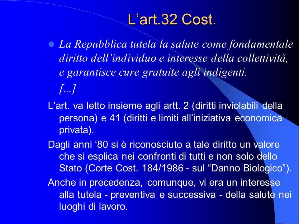L'art.32 Cost. La Repubblica tutela la salute come fondamentale diritto dell'individuo e interesse della collettività, e garantisce cure gratuite agli