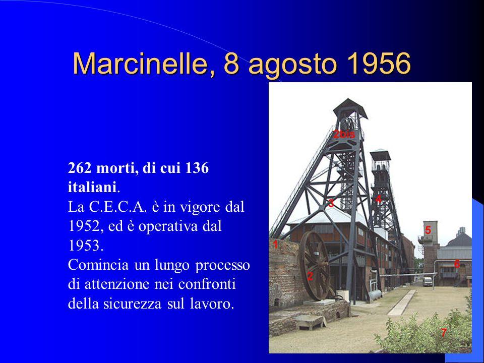 Marcinelle, 8 agosto 1956 262 morti, di cui 136 italiani. La C.E.C.A. è in vigore dal 1952, ed è operativa dal 1953. Comincia un lungo processo di att