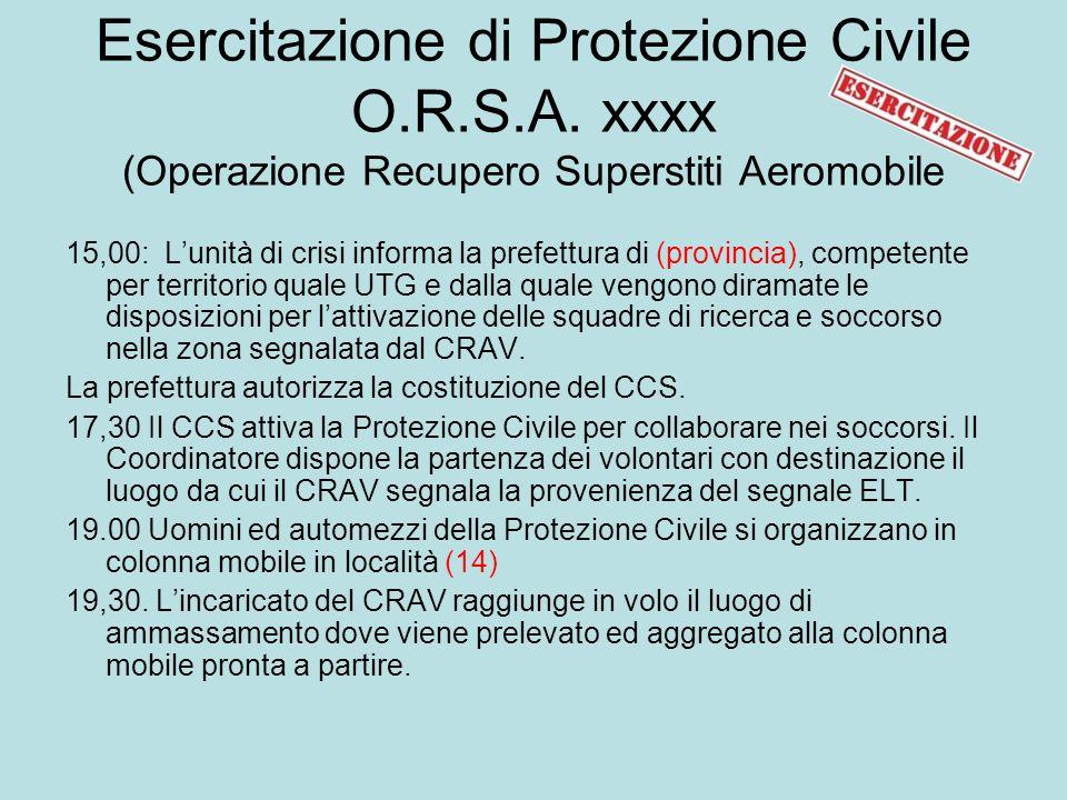 Esercitazione di Protezione Civile O.R.S.A.