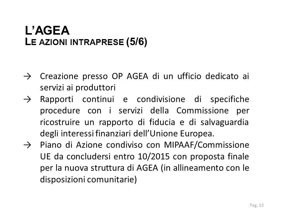 →Creazione presso OP AGEA di un ufficio dedicato ai servizi ai produttori →Rapporti continui e condivisione di specifiche procedure con i servizi dell