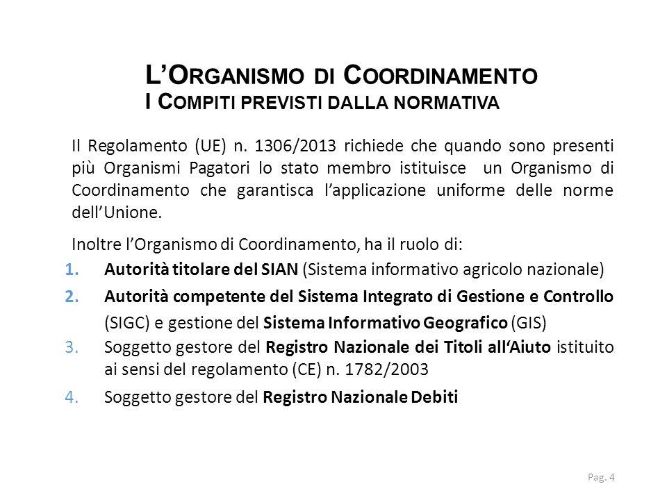 L'O RGANISMO DI C OORDINAMENTO I C OMPITI PREVISTI DALLA NORMATIVA Pag. 4 Il Regolamento (UE) n. 1306/2013 richiede che quando sono presenti più Organ