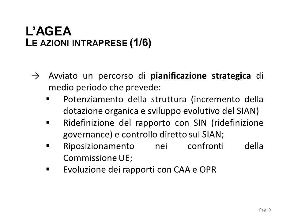 LA NUOVA ORGANIZZAZIONE →Applicazione nuovo Statuto L'AGEA L E AZIONI INTRAPRESE (2/6) Organizzazione 2013 Organizzazione 2015 Pag.