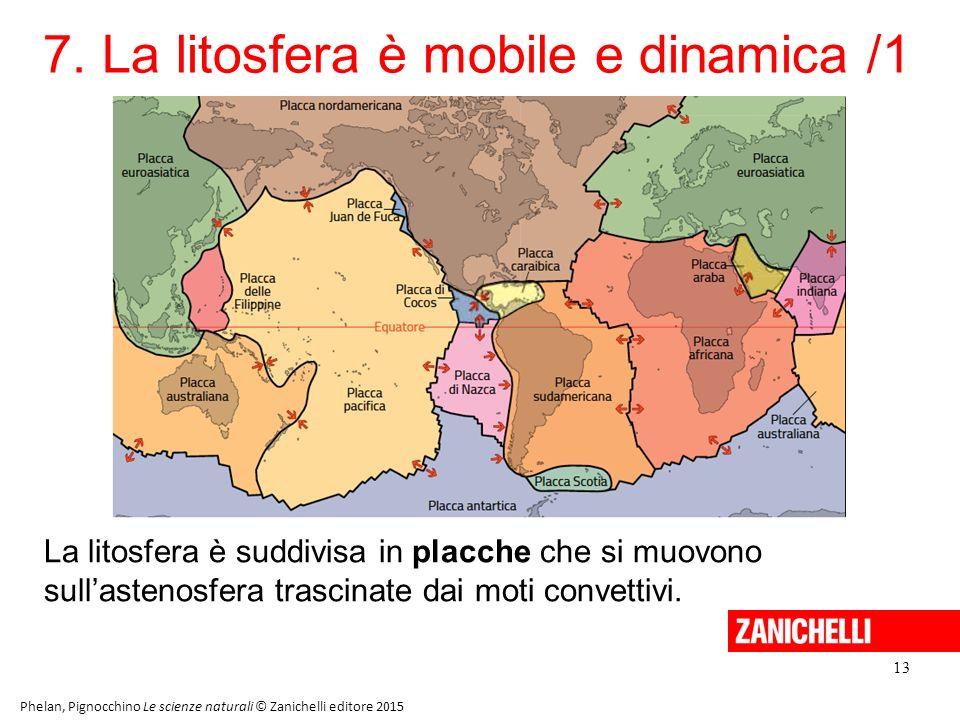 7. La litosfera è mobile e dinamica /1 13 Phelan, Pignocchino Le scienze naturali © Zanichelli editore 2015 La litosfera è suddivisa in placche che si