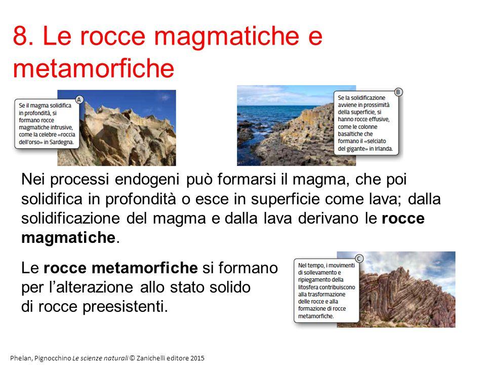 8. Le rocce magmatiche e metamorfiche Phelan, Pignocchino Le scienze naturali © Zanichelli editore 2015 Nei processi endogeni può formarsi il magma, c